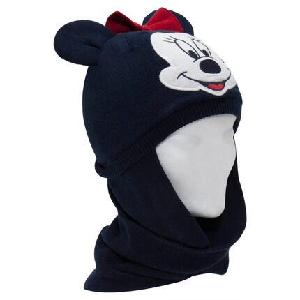 Gorro de snood de punto y micropolar Minnie con orejas de relieve