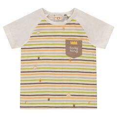 Camiseta de manga corta de punto de rayas con bolsillo estampado