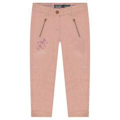 Pantalón de algodón con bordados y bolsillos con cremallera