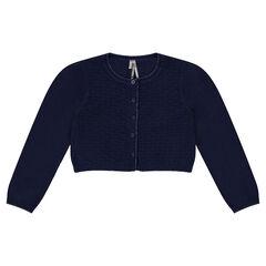 Chaqueta corta de algodón y lana con juego de punto