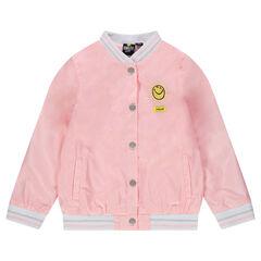 Teddy de raso rosa con bordados ©Smiley y volantes en la espalda