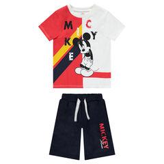 Conjunto de camiseta con estampado de Mickey ©Disney bicolor y bermudas lisas