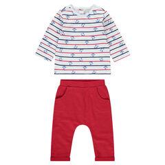 Conjunto de camiseta con estampado all-over y pantalón de felpa