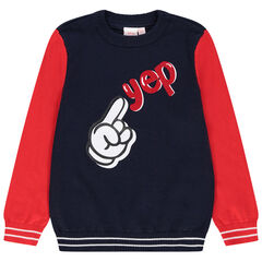 jersey en tricot bicolor print main de Mickey Disney
