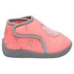 Zapatillas con botines con velcro y dibujo de conejos all over