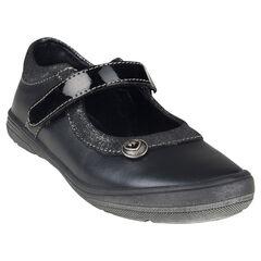 Zapatos merceditas de cuero de color negro con purpurina con remache