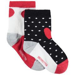 Juego de 2 pares de calcetines con lunares que contrastan