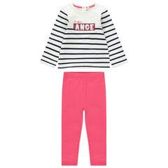 Conjunto de camiseta de rayas y mensaje de lentejuelas con leggings rosas