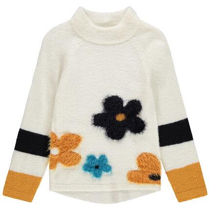 Jersey largo de punto con cuello subido y flores de jacquard
