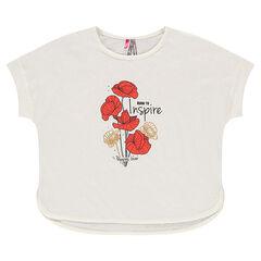 Camiseta de manga corta aspecto lino con estampado de amapolas