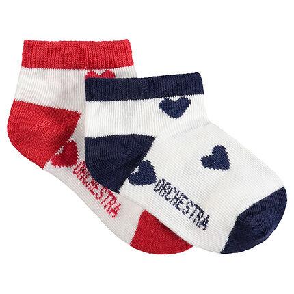 Juego de 2 pares de calcetines variados con corazones de jacquard