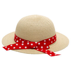 Sombrero con efecto de paja y lazo de lunares