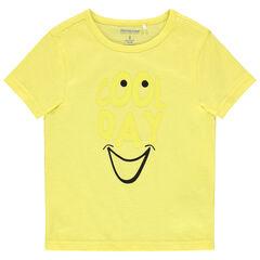camiseta mangas cortas liso amarillo print mensaje