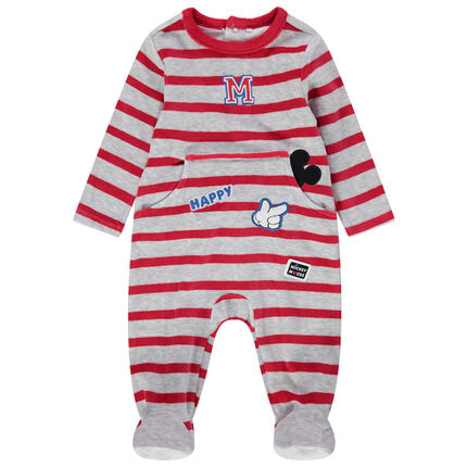 Pijama de terciopelo a rayas con parches de Mickey Disney