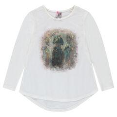 Camiseta de punto de fantasía con estampado de efecto brillante