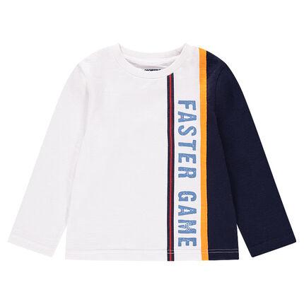 Camiseta de manga larga con bandas que contrastan e inscripción