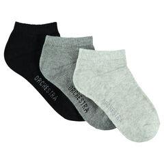 Pack de 3 pares de calcetines cortos lisos