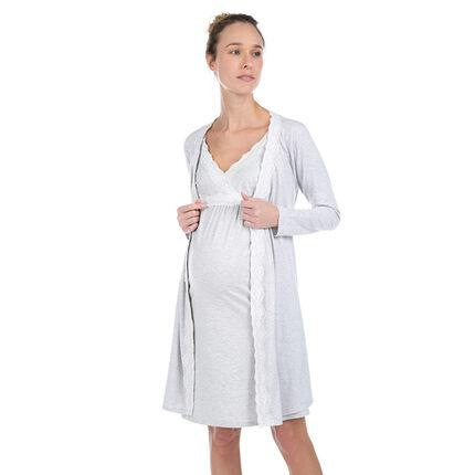 Chaqueta larga homewear de algodón ecológico con encaje