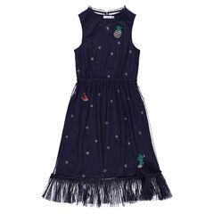 Vestido sin mangas de tul con estrellas y parche de lentejuelas