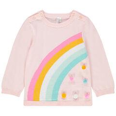 Jersey de punto con arcoíris de jacquard y pompones
