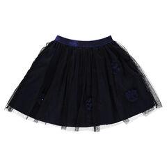 Falda de tul con flores cintura elástica