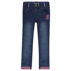 Jeans slim efecto usado bordados de fantasía