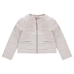 Chaqueta de algodón efecto tweed con brillos