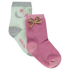 Juego de 2 pares de calcetines variados con motivo de jácquard y lazo de satén