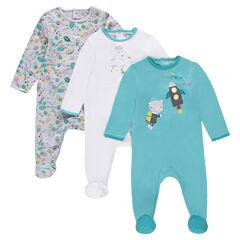 Pack de 3 pijamas de punto interlock con estampados de fantasía