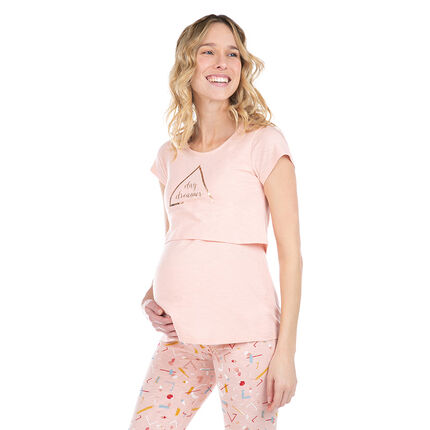 Parte superior del pijama de premamá y lactancia con estampado dorado
