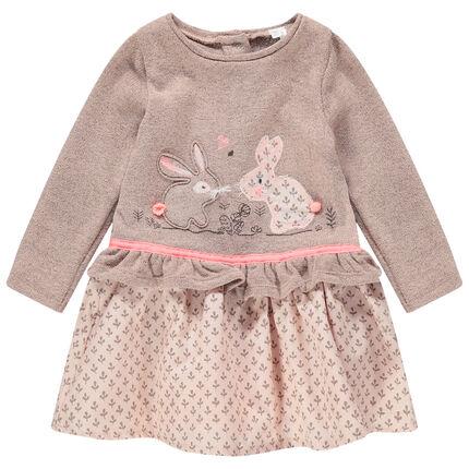 Vestido de manga larga efecto 2 en 1 con conejos bordados