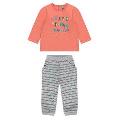 Conjunto de camiseta de manga larga estampada y pantalón estampado