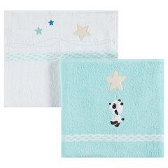 Lote de 2 toalla con estrellas y panda con bordado