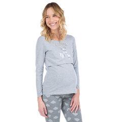 Camiseta de manga larga homewear con mensaje estampado