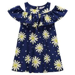Vestido con hombros de punto calado con flores estampadas all over