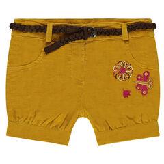 Pantalón corto de pana con cinturón trenzado desmontable