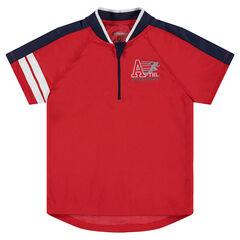Camiseta de manga corta de malla con franjas estampadas y cremallera en el cuello