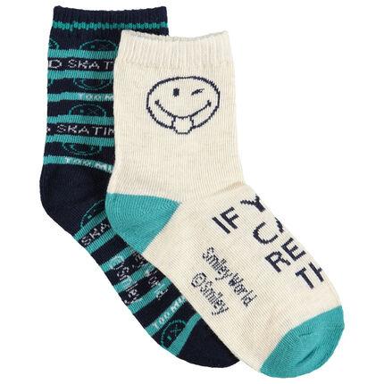 Juego de 2 pares de calcetines variados con Smiley de jacquard