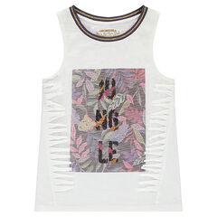 Júnior - Camiseta de punto slub con estampado vegetal e inscripciones con lentejuelas