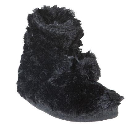 Chaussons bottines noirs en fausse fourrure avec pompons