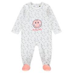 Pijama de terciopelo con ©Smiley cosido e inscripción bordada