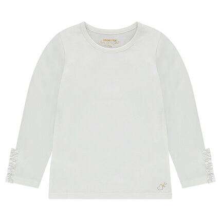 Camiseta de manga larga de punto con volante en los puños