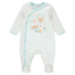 Pijama de terciopelo con dibujo gráfico y animales estampados