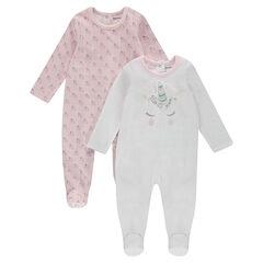 Juego de 2 pijamas de terciopelo liso/con unicornio estampados