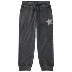 Júnior - Pantalón de chándal de terciopelo liso con estrella de lentejuelas