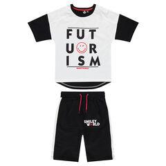 Júnior - Conjunto de camiseta y bermudas de punto con mensaje y estampado ©Smiley