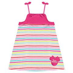 Vestido de rayas multicolores con parche Disney Minnie