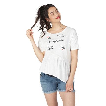 Camiseta de manga corta de premamá con inscripciones