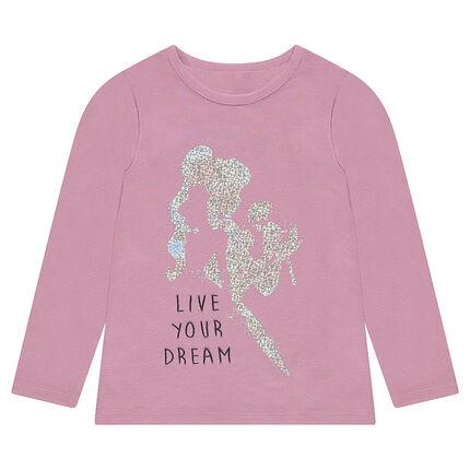 Camiseta de punto liso con princesa estampada de foil brillante
