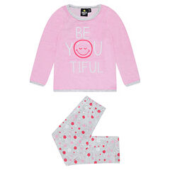 Pijama de terciopelo con mensaje y ©Smiley estampado